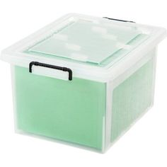 Iris Letter/Legal File Box with Buckles, 6-Pack, Clear
