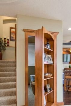I love hidden rooms! Basement Hidden Bookshelf Storage - traditional - basement - minneapolis - by Finished Basement Company Bookshelf Storage, Basement Storage, Bookcase Door, Basement Stairs, Basement Ideas, Bathroom Storage, Storage Stairs, Bathroom Closet, Basement Bedrooms
