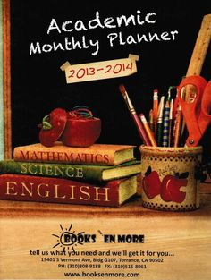 Don't you have a 2013-2014 Academic Monthly Planner yet? Well Teachers or Educators it's your lucky day. You can have one FREE. Just send us an email thru our contact page via our website, www.booksenmore.com and we'll be happy to send you one. Don't forget to include your mailing address. GET YOUR COPY NOW!!!