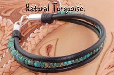 5B-395 Unique Turquoise & Leather Sterling Silver New Bangle Wristband Bracelet