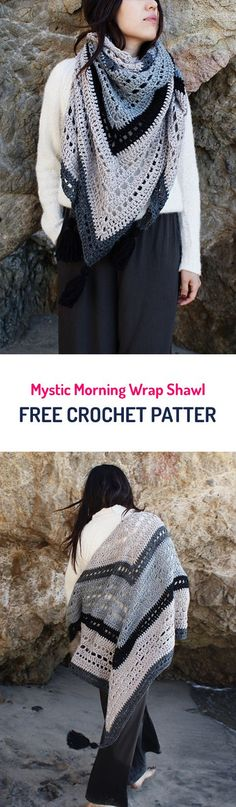 Mystic Morning Wrap Shawl Free Crochet Pattern #crochet #crocheting #crocheted #yarn #handmade #crafts