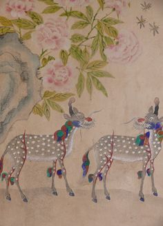 Peonies and Giraffes, a folk painting of the Joseon Dynasty of Korea