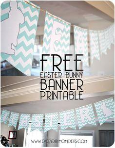 Free Chevron Easter Bunny Banner Printable!