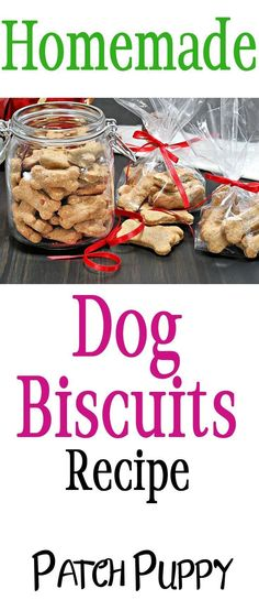 Homemade Dog Food DIY / Homemade Dog Biscuit Recipe - We love to pamper our dogs with Homemade Dog Biscuits. And these are super easy to make with simple ingredients your dog will love! Dog Biscuit Recipes, Dog Treat Recipes, Dog Food Recipes, Homemade Dog Cookies, Homemade Dog Food, Diy Dog Treats, Healthy Dog Treats, Puppy Treats, Best Dog Food