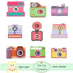 Vintage camera clipart digital illustration web graphic vector art   instant download (4.00 USD) by FatCatCreation
