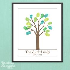 DIY Personalized Thumbprint Family Tree - Printable pdf Family Art Project. Very cute, not sure if I would be able to turn out one of these without lots of smudges...