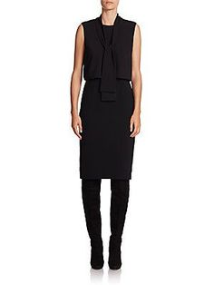 Lafayette 148 New York Vivica Crepe and Georgette Blouson Dress - Blac