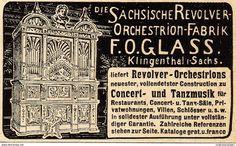 Werbung - Original-Werbung/ Anzeige 1902 - REVOLVER - ORCHESTRIONS / GLASS - KLINGENTHAL - ca. 80 x 50 mm