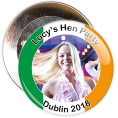 A customisable hen night badge with Irish flag coloured border. These hen party badges are customised with a photo, the name of the hen and a location.
