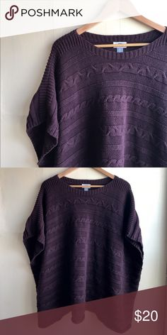 EUC▪️Plum Cabled Poncho Sweater Gorgeous plum sweater with cable detailing. Perfect with leggings and riding boots for fall! Old Navy Sweaters Shrugs & Ponchos