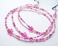 Brillenketten - Brillenkette mit  Blumen  rosa-pink-transparent - ein Designerstück von soschoen bei DaWanda