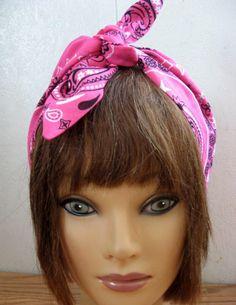 Womans Hair scarf,  Head scarf for women, PINK Hair Band Bow, WIDE Hair Bandana, Women Rockabilly, Retro style,  Boho head wrap  163 by StitchesByAlida on Etsy