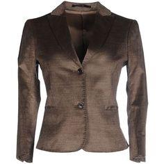 Mauro Grifoni Blazer ($355) ❤ liked on Polyvore featuring outerwear, jackets, blazers, khaki, velvet blazers, velvet jacket, blazer jacket, lapel jacket and collar jacket