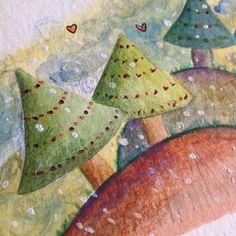 Arvorezinhas Some little trees cute tree watercolor coloredpencil color childrenillustration