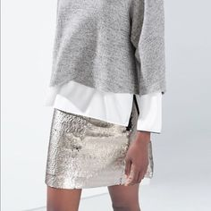 2ebe21b192df Details about Zara Basic Collection Sequin Mini Skirt Black, Size Small NWT  $39.90
