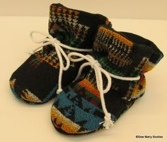 Wool Baby Booties Made from Pendleton Wool Soft by SewManyBooties, $22.00