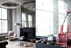 The stunning New York apartment of Ochre owners. Love the antiqued mirror and stunning chandelier