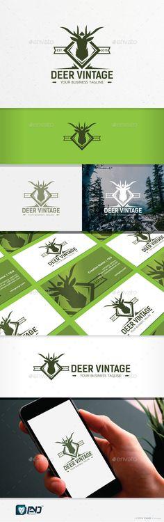 Deer Vintage — Photoshop PSD #luxury #hunting logo • Download here → https://graphicriver.net/item/deer-vintage/15602776?ref=pxcr