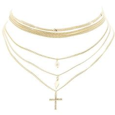 Charlotte Russe Multi-Strand Embellished Choker Necklace ($6) ❤ liked on Polyvore featuring jewelry, necklaces, gold, choker pendant necklace, cross necklace, leaf necklace, curb chain necklace and crucifix necklace