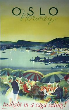 Oslo - Norway - Twilight in a saga setting by Knut Yran 1965 Vintage Travel Poster Poster Retro, Poster Ads, Vintage Travel Posters, Vintage Postcards, Illustrations Vintage, Illustrations And Posters, Photo Vintage, Vintage Ski, Vintage Photos