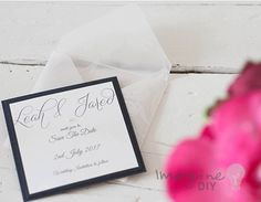 Elegant save the date monochrome wedding ideas. How to make your own wedding stationery. Make Invitations, RSVP, favours, place cards, order of service and menu covers and more.