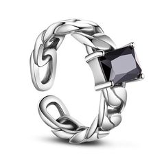SWEETIEE&reg Antique Silver 925 Sterling Silver Cuff Finger Rings, with Cubic Zirconia, BlackPSize: about 17mm inner diameter(Adjustable), 7mm wide; pPacking size: 53x53x37mm.