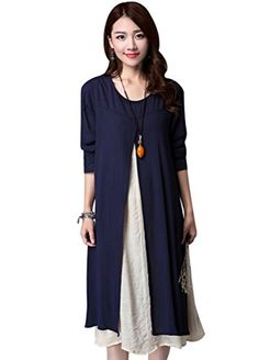Minibee Women Cotton Linen Long Dress Fake Two Pieces with Sleeves (S, Navy Blue) Minibee http://www.amazon.com/dp/B01CFHLWLQ/ref=cm_sw_r_pi_dp_qvj-wb0B64YS1