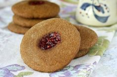 Soft molasses thumbprint cookies are a not-too-sweet treat, They travel well and the plain version is good with a slice of cheese or dab of peanut butter.