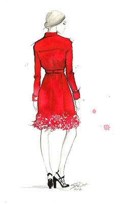 Print from original watercolor fashion illustration by Jessica Durrant titled The Red Trench via Etsy Fashion Illustration Sketches, Illustration Mode, Fashion Design Sketches, Fashion Drawings, Timeless Fashion, Love Fashion, Fashion Art, Fashion Models, Glenda