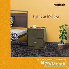 Don't grope around in the dark anymore for your glasses or important medicines. Simply store them on your side table! Rent one today! Thinking of Renting . Think of Rentickle! Living Room Decor, Bedroom Decor, Renting, Simple Living, Filing Cabinet, Home Furniture, Glasses, Dark, Store