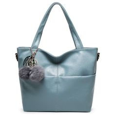 Pompons PU Leather Shouder Bag ($27) ❤ liked on Polyvore featuring bags, handbags, shoulder bags, blue shoulder bag, pu leather handbag, blue handbags and blue purse