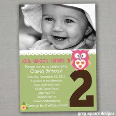 Look Whoo Owl Birthday Invitation