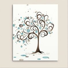Blue and Brown Watercolor Art Tree Print by NaturesHeavenlyArt