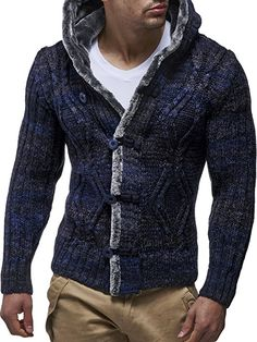 Leifheit Nelson Chaqueta de punto para chaqueta con capucha ln20539 N azul marino S