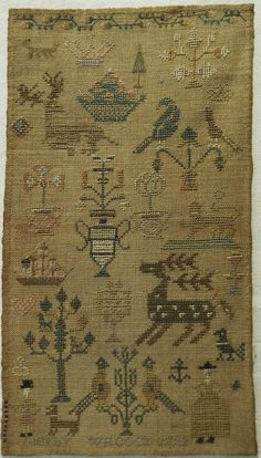 SMALL 18TH CENTURY SILK WORK MOTIF SAMPLER BY CICELY WILCOCK 1792