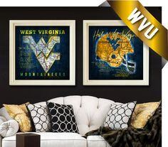 West Virginia Mountaineers Map Set  Featuring WVU by RetroLeague, $39.50