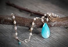 Sleeping Beauty Turquoise and Freshwater Pearl Necklace by Noduri on Etsy