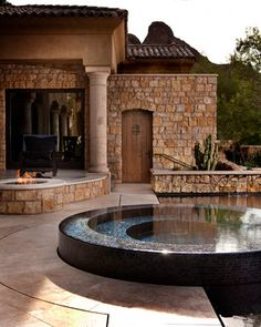 "Build Your Own Water Fountain Design Ideas, Pictures, Remodel and Decor. ""Raised, negative edge fountain; gas fire pit""  ""Tile in hot tub Pool, water up to the edge"""