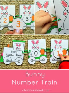 Bunny Number Train ... children put the bunny number train cars in order and link them together.  They then then put number circles on the matching bunnies.