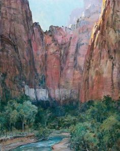 """Late Afternoon in Zion Canyon"" by Impressionist Howard Russel Butler, commissioned in 1926 by the Union Pacific Railroad to promote tourism in the area"