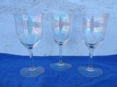 Vintage Crystal Wine Glasses - Rainbow Iridescent - Set of 3 - RARE!