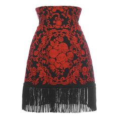Dolce & Gabbana Embroidered Cady Mini Skirt With Fringe Trim (€2.740) ❤ liked on Polyvore featuring skirts, mini skirts, dolce gabbana skirts, fringe skirt, red skirt, short red skirt and high waisted mini skirt