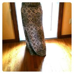 Cynthia Rowley's skirt Wanderlust Pima cotton maxi skirt knit in the easiest  of shapes, our Pima jacquard maxi skirt is strewn with a toile motif in aster black on white detailed with flattering wide elastic waist, gentle gathers Cynthia Rowley Skirts Maxi