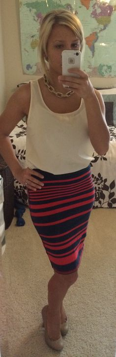 Nautical office look: white blouse tank- TJ Max | red and navy stripped pencil skirt- Old Navy | gold link necklace- Banana Republic | nude pumps- J LO|