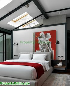 Colorful Bedroom Designs & Ideas Feature Wall Bedroom, Bedroom Wall Colors, Bedroom Color Schemes, Black White And Grey Bedroom, Burgundy Bedroom, Arty Bedroom, White Bedroom, Red Accent Bedroom, Master Bedroom