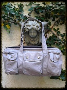 Vtg Not Rational Pearlized Leather Sub Utility Multi Pocket Handbag Bag Purse Travel-Lots of pockets.