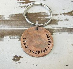 lead inspire teach copper teacher key chain - perfect gift for a male or female teacher Barn Dance, Thing 1, Holiday Gift Guide, Key Rings, Key Chain, Hand Stamped, Best Gifts, Menu, Copper