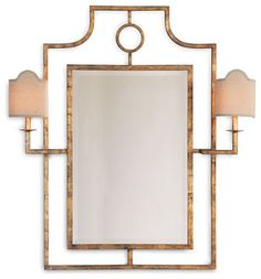 Doheny Hollywood Regency Bamboo Gold Leaf Mirror With Sconces - mediterranean - Wall Mirrors - Kathy Kuo Home $885. 2/23/15