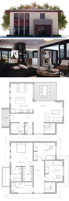 Home Design, Three bedrooms floor plan, Small House Plan, Home Plan, zero energy modular home plan New House Plans, Modern House Plans, Small House Plans, Modern House Design, House Floor Plans, House Blueprints, Sims House, House Layouts, Architecture Plan