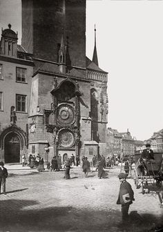 Prague thru time. At Old Town Astronomical Clock, ca 1890 Old Pictures, Old Photos, Prague Photos, Istanbul City, Prague Travel, Prague Czech Republic, Heart Of Europe, Old Town Square, Places In Europe